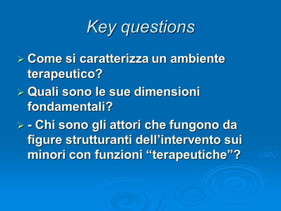 Key questions Come si caratterizza un ambiente terapeutico