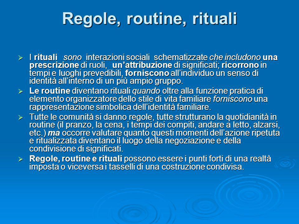 Regole, routine, rituali