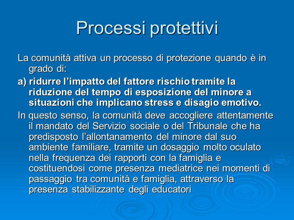 Processi protettivi La comunità attiva un processo di protezione quando è in grado di: