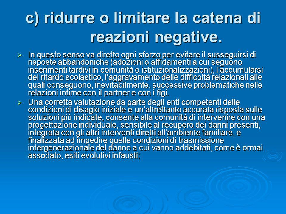 c) ridurre o limitare la catena di reazioni negative.