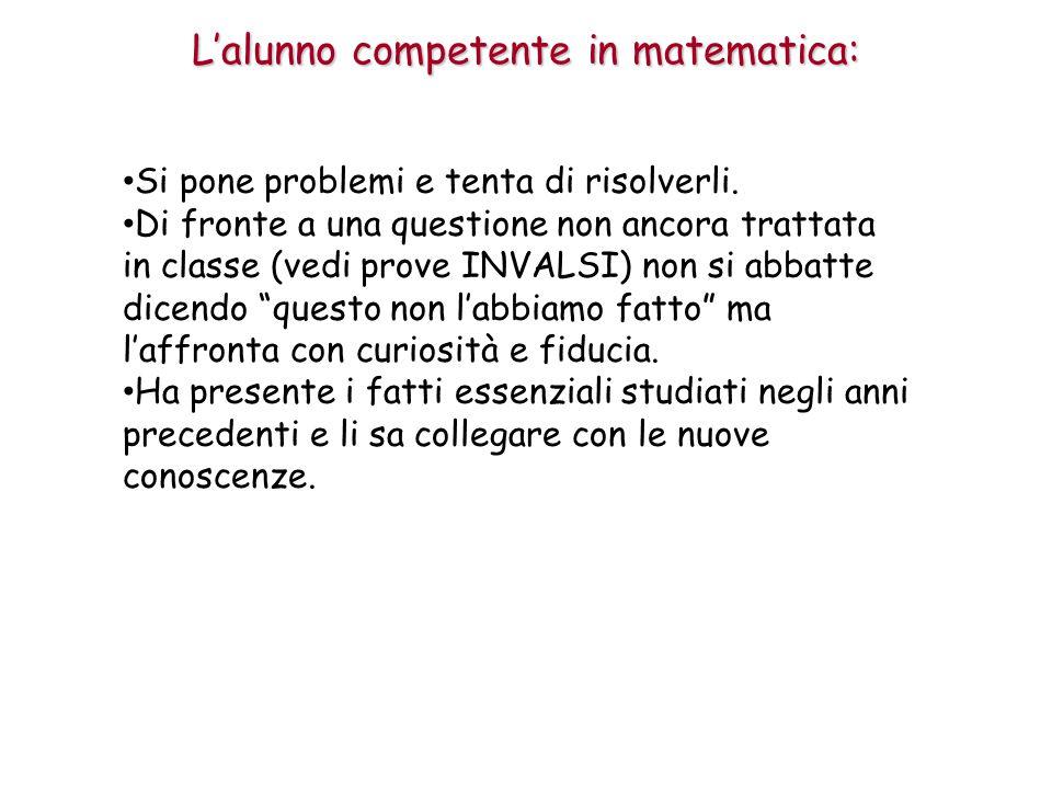 L'alunno competente in matematica: