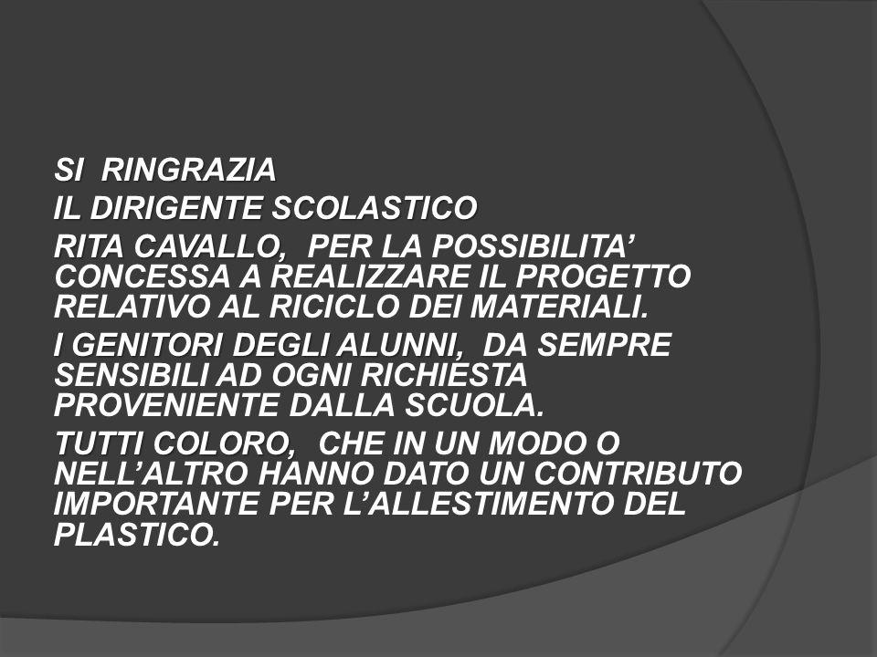 SI RINGRAZIA IL DIRIGENTE SCOLASTICO. RITA CAVALLO, PER LA POSSIBILITA' CONCESSA A REALIZZARE IL PROGETTO RELATIVO AL RICICLO DEI MATERIALI.