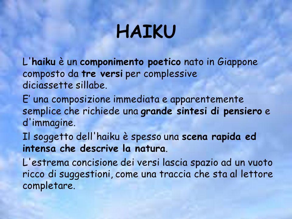 HAIKU L haiku è un componimento poetico nato in Giappone composto da tre versi per complessive diciassette sillabe.