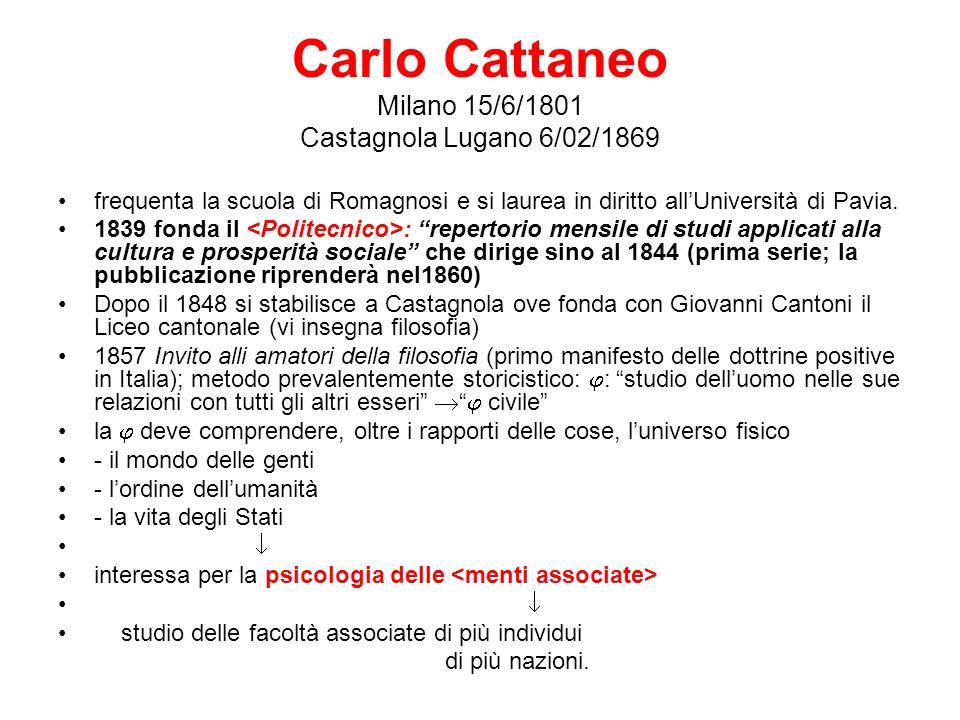 Carlo Cattaneo Milano 15/6/1801 Castagnola Lugano 6/02/1869