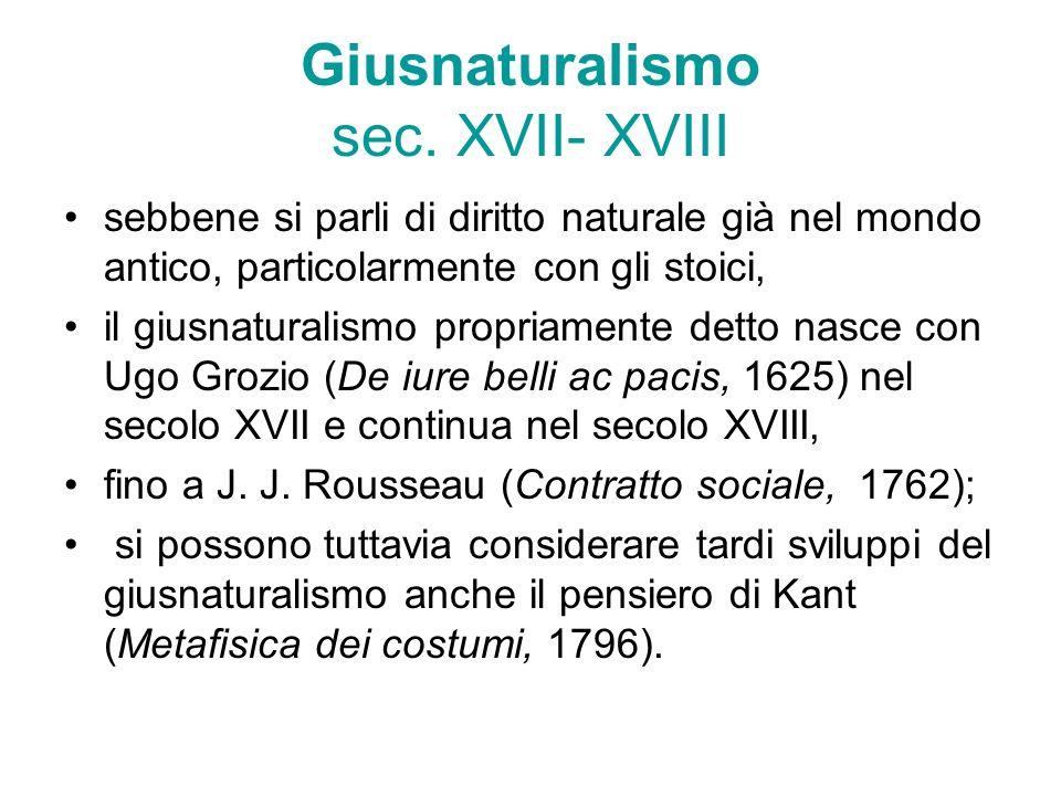 Giusnaturalismo sec. XVII- XVIII