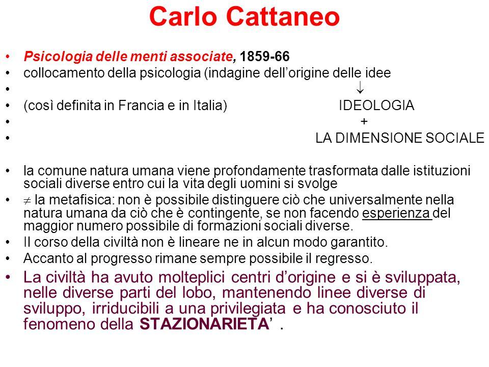 Carlo Cattaneo Psicologia delle menti associate, 1859-66. collocamento della psicologia (indagine dell'origine delle idee.