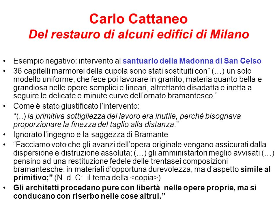 Carlo Cattaneo Del restauro di alcuni edifici di Milano