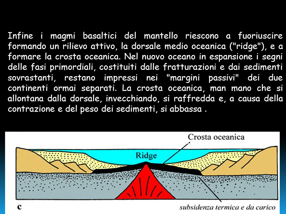 Infine i magmi basaltici del mantello riescono a fuoriuscire formando un rilievo attivo, la dorsale medio oceanica ( ridge ), e a formare la crosta oceanica.