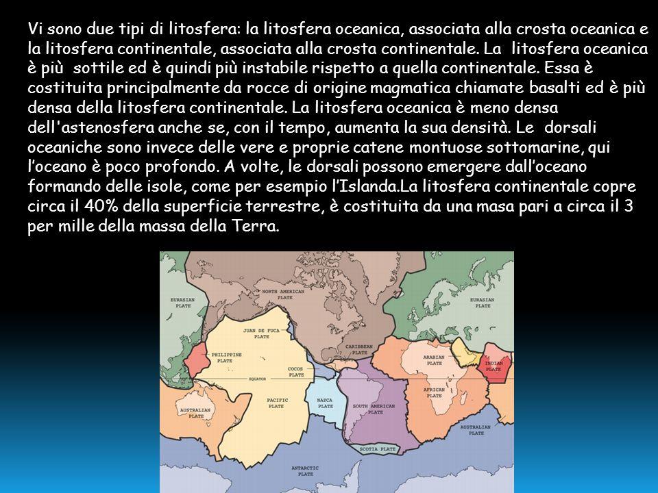 Vi sono due tipi di litosfera: la litosfera oceanica, associata alla crosta oceanica e la litosfera continentale, associata alla crosta continentale.
