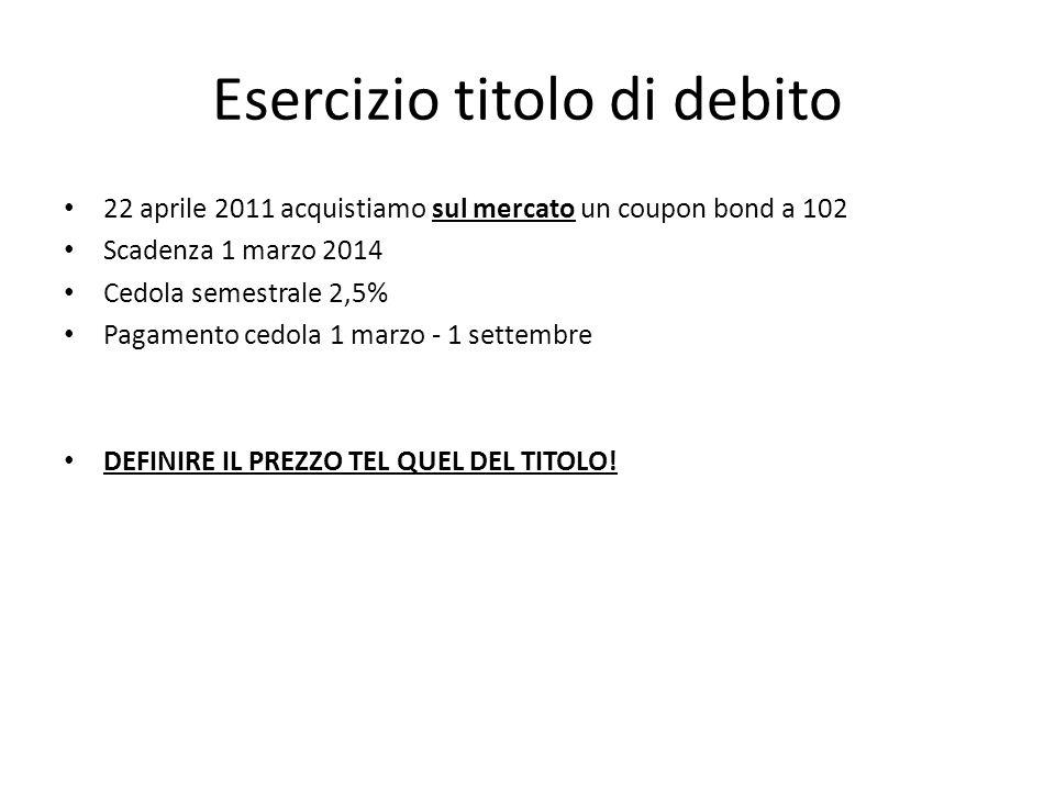Esercizio titolo di debito