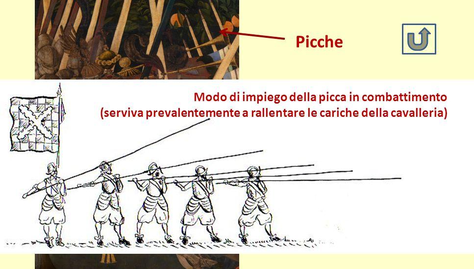 Picche Modo di impiego della picca in combattimento. (serviva prevalentemente a rallentare le cariche della cavalleria)