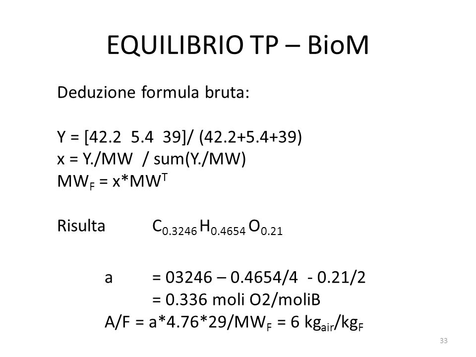 EQUILIBRIO TP – BioM Deduzione formula bruta: