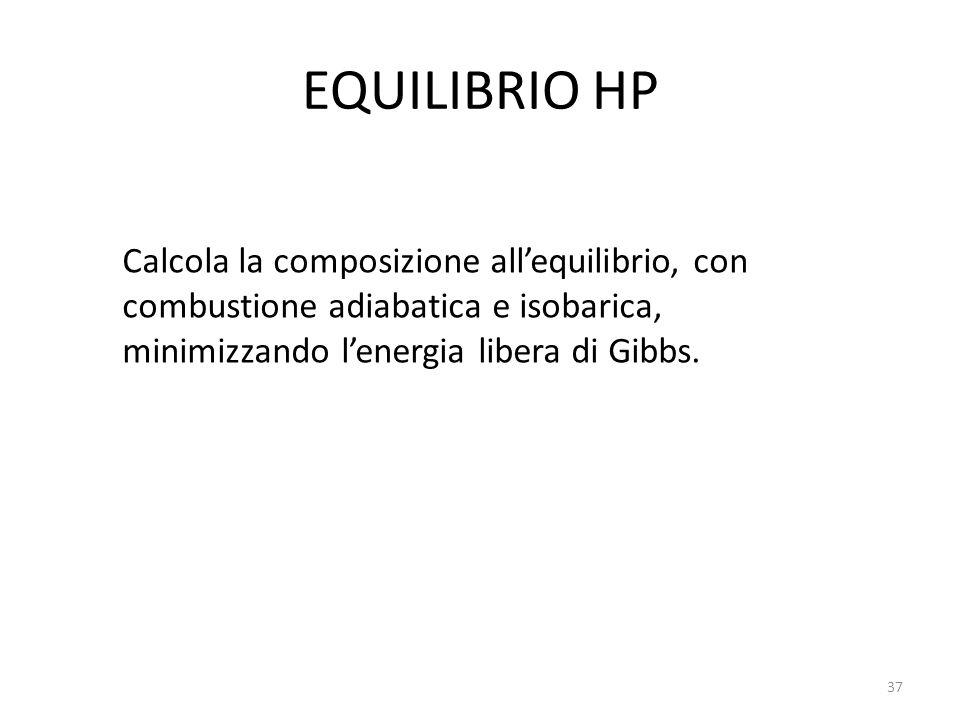 EQUILIBRIO HP Calcola la composizione all'equilibrio, con combustione adiabatica e isobarica, minimizzando l'energia libera di Gibbs.
