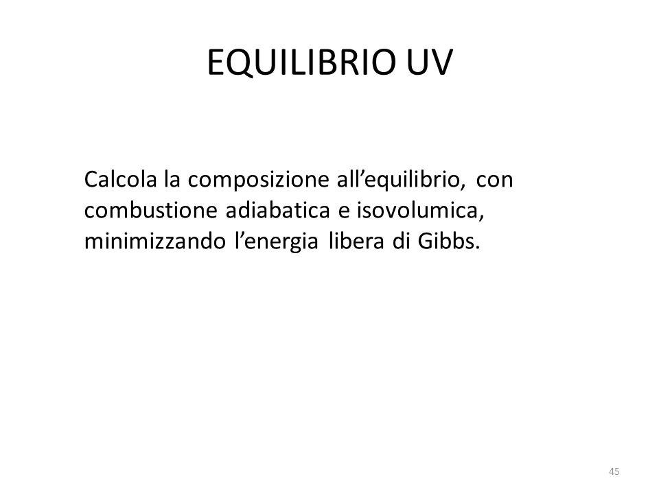 EQUILIBRIO UV Calcola la composizione all'equilibrio, con combustione adiabatica e isovolumica, minimizzando l'energia libera di Gibbs.