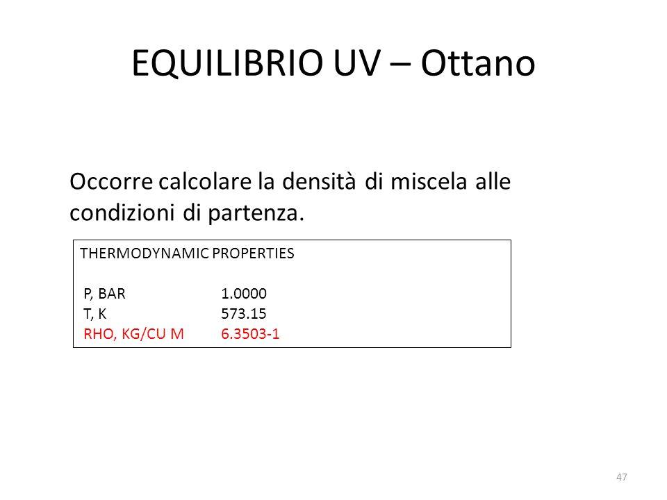 EQUILIBRIO UV – Ottano Occorre calcolare la densità di miscela alle condizioni di partenza. THERMODYNAMIC PROPERTIES.