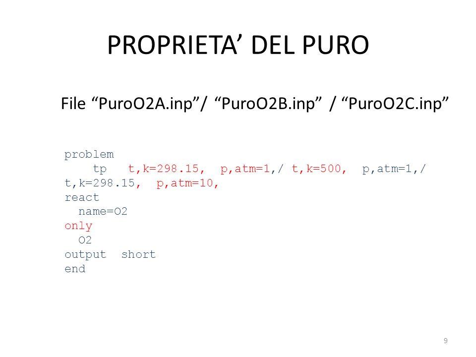 PROPRIETA' DEL PURO File PuroO2A.inp / PuroO2B.inp / PuroO2C.inp