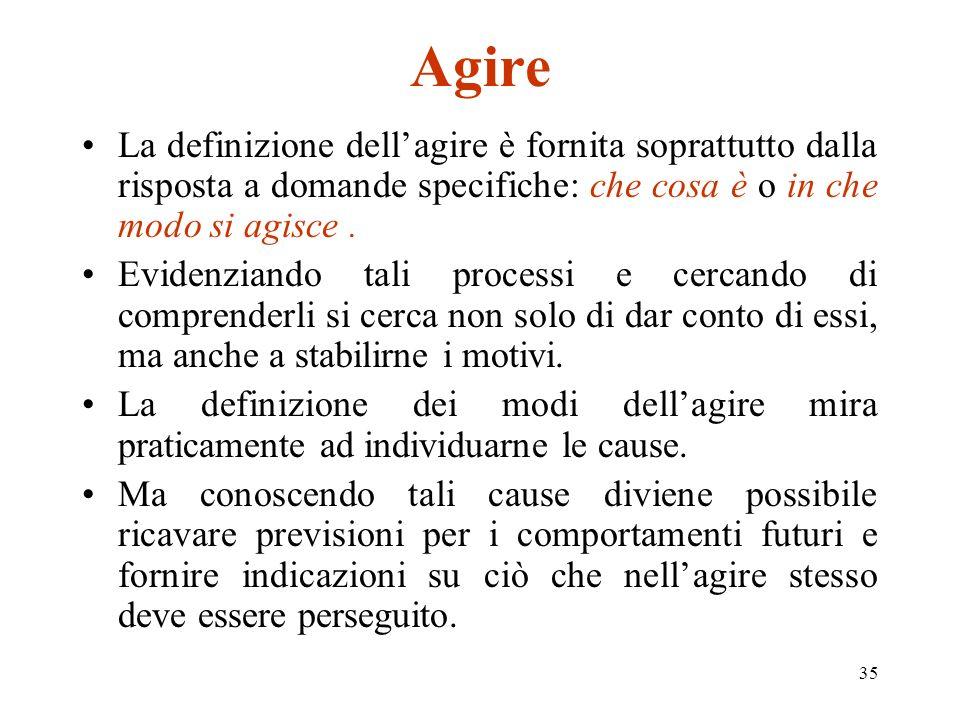 Agire La definizione dell'agire è fornita soprattutto dalla risposta a domande specifiche: che cosa è o in che modo si agisce .