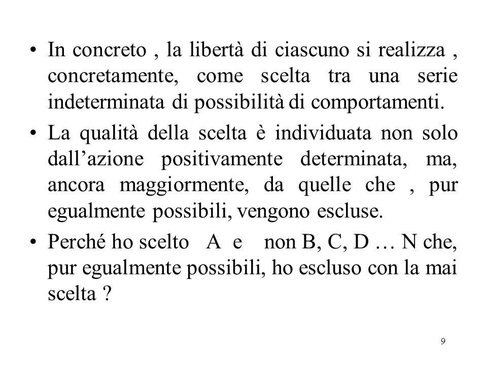 In concreto , la libertà di ciascuno si realizza , concretamente, come scelta tra una serie indeterminata di possibilità di comportamenti.