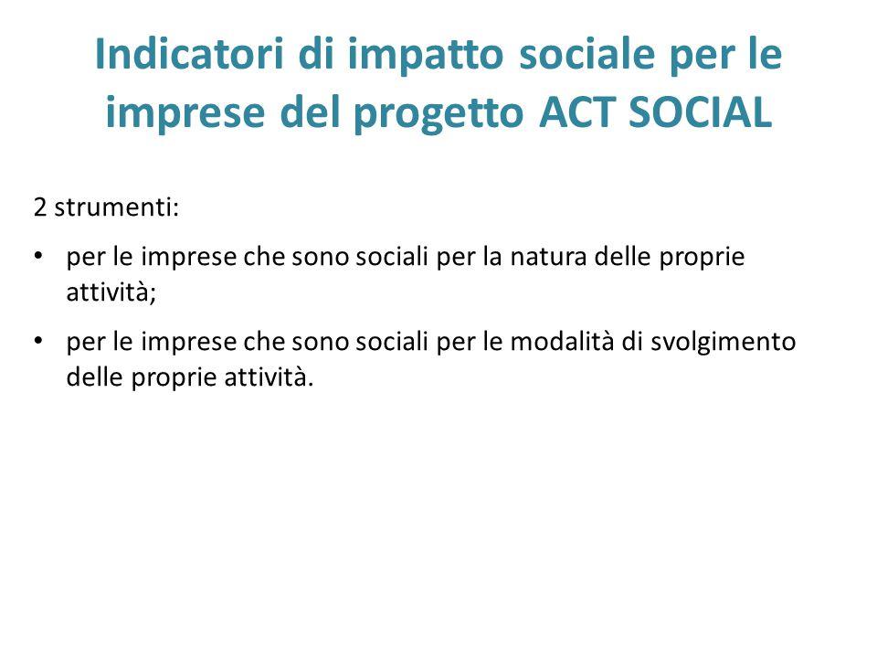 Indicatori di impatto sociale per le imprese del progetto ACT SOCIAL