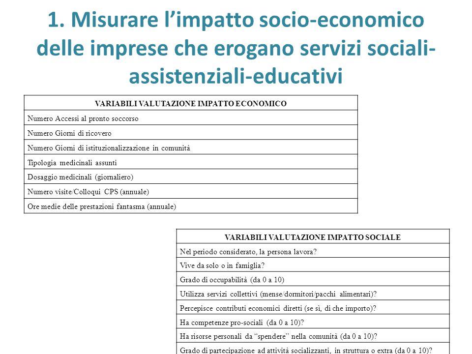 1. Misurare l'impatto socio-economico delle imprese che erogano servizi sociali-assistenziali-educativi