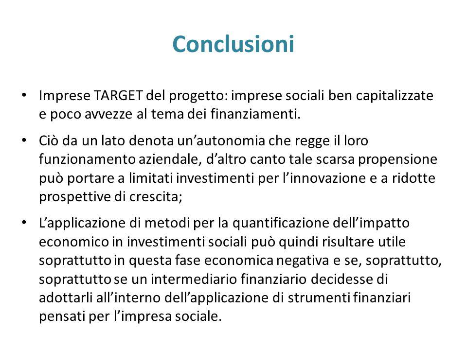Conclusioni Imprese TARGET del progetto: imprese sociali ben capitalizzate e poco avvezze al tema dei finanziamenti.