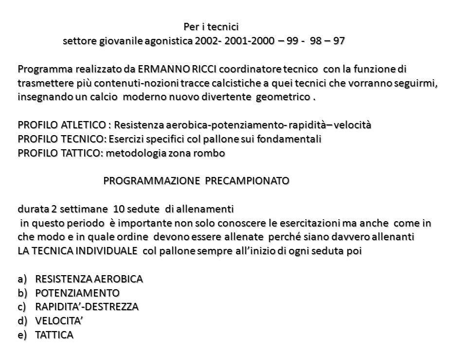 Per i tecnici settore giovanile agonistica 2002- 2001-2000 – 99 - 98 – 97.