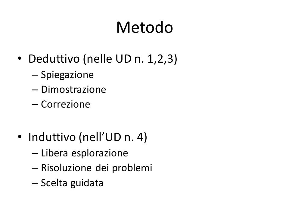 Metodo Deduttivo (nelle UD n. 1,2,3) Induttivo (nell'UD n. 4)