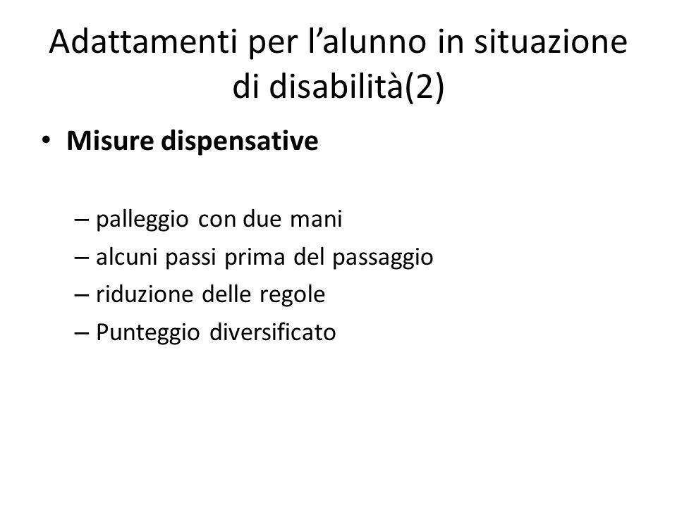 Adattamenti per l'alunno in situazione di disabilità(2)