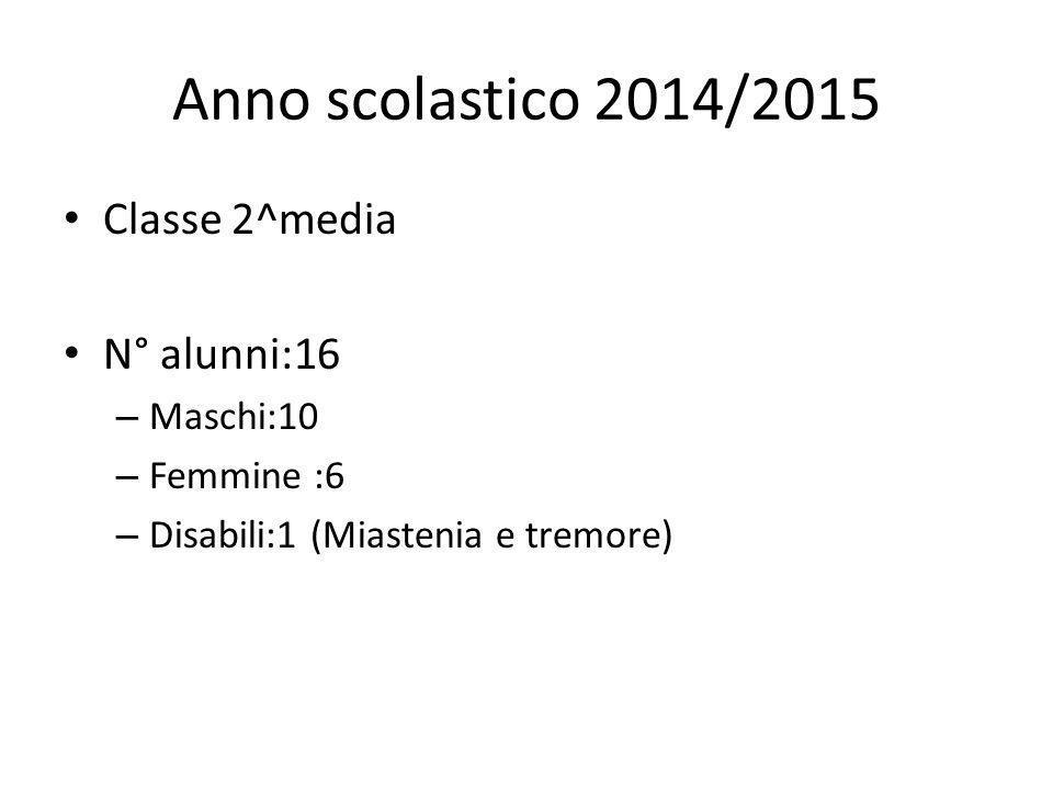 Anno scolastico 2014/2015 Classe 2^media N° alunni:16 Maschi:10