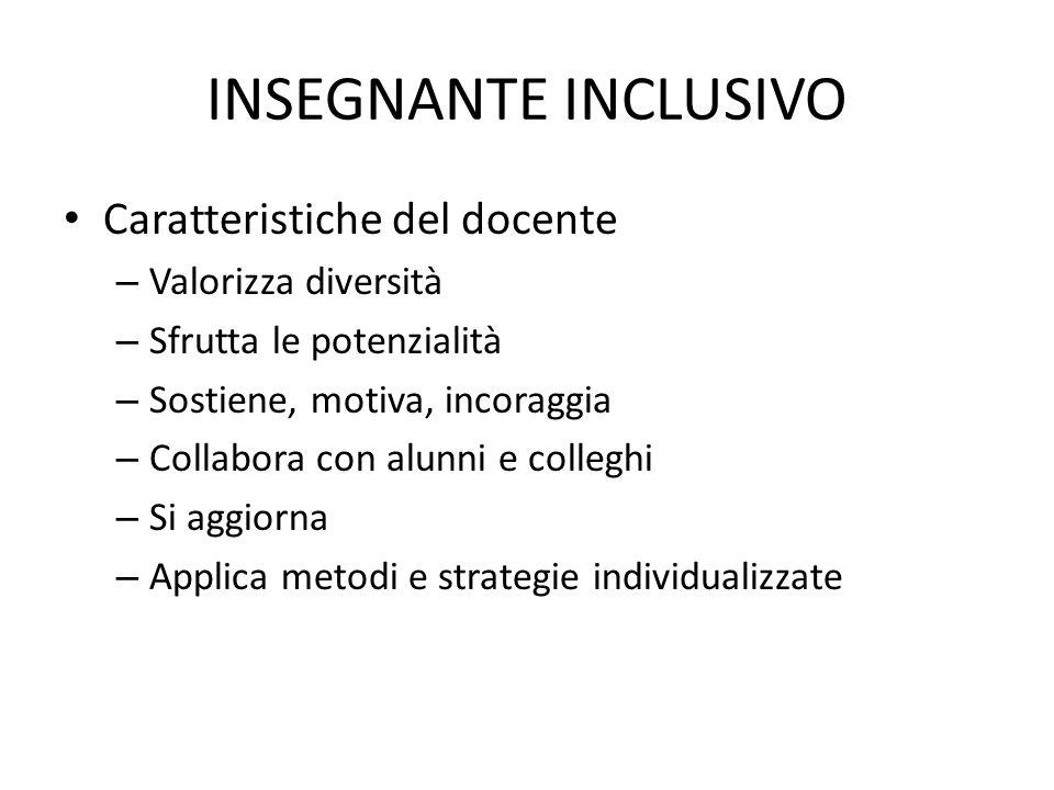 INSEGNANTE INCLUSIVO Caratteristiche del docente Valorizza diversità