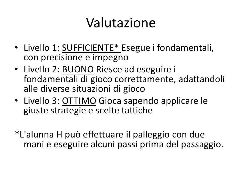 Valutazione Livello 1: SUFFICIENTE* Esegue i fondamentali, con precisione e impegno.