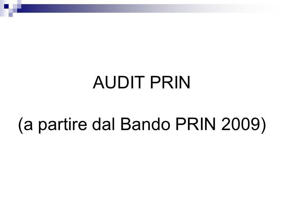 AUDIT PRIN (a partire dal Bando PRIN 2009)