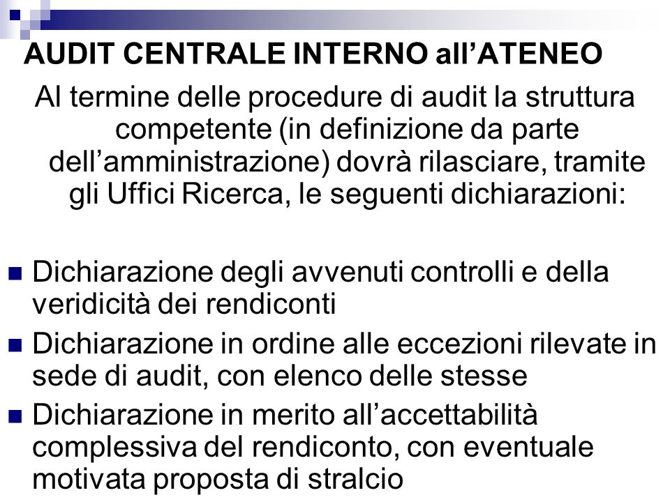AUDIT CENTRALE INTERNO all'ATENEO