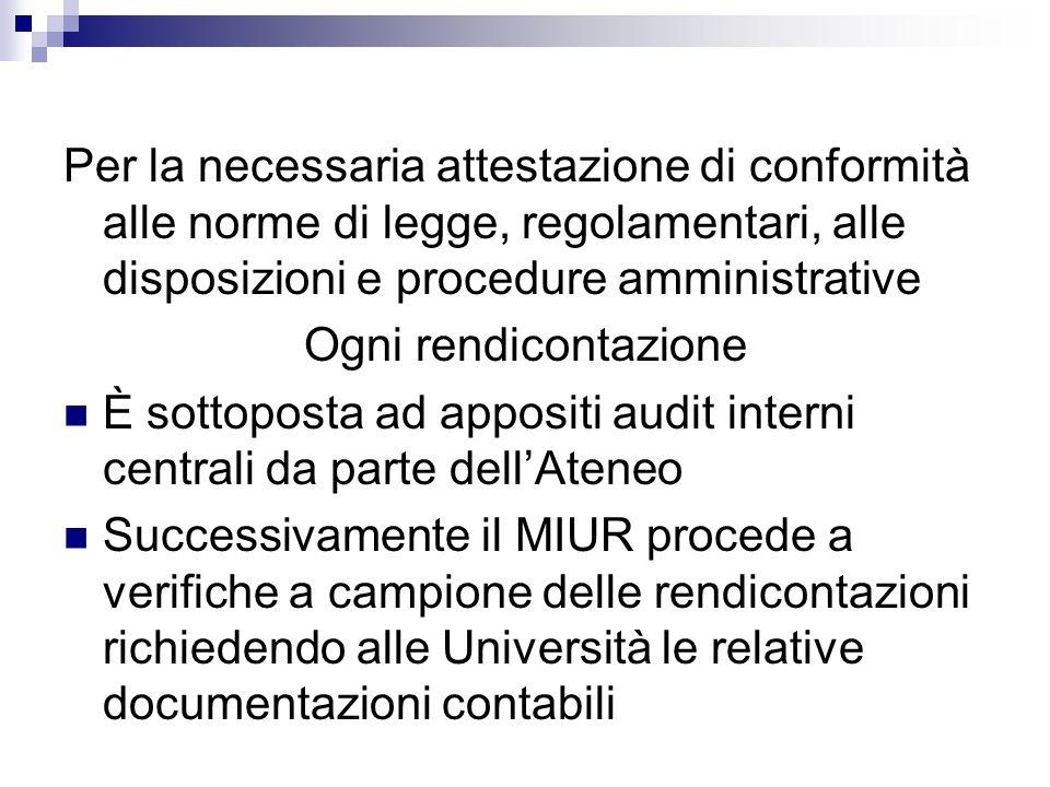 Per la necessaria attestazione di conformità alle norme di legge, regolamentari, alle disposizioni e procedure amministrative