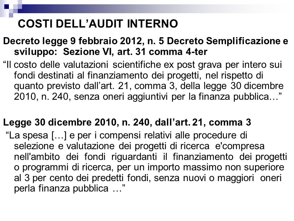 COSTI DELL'AUDIT INTERNO