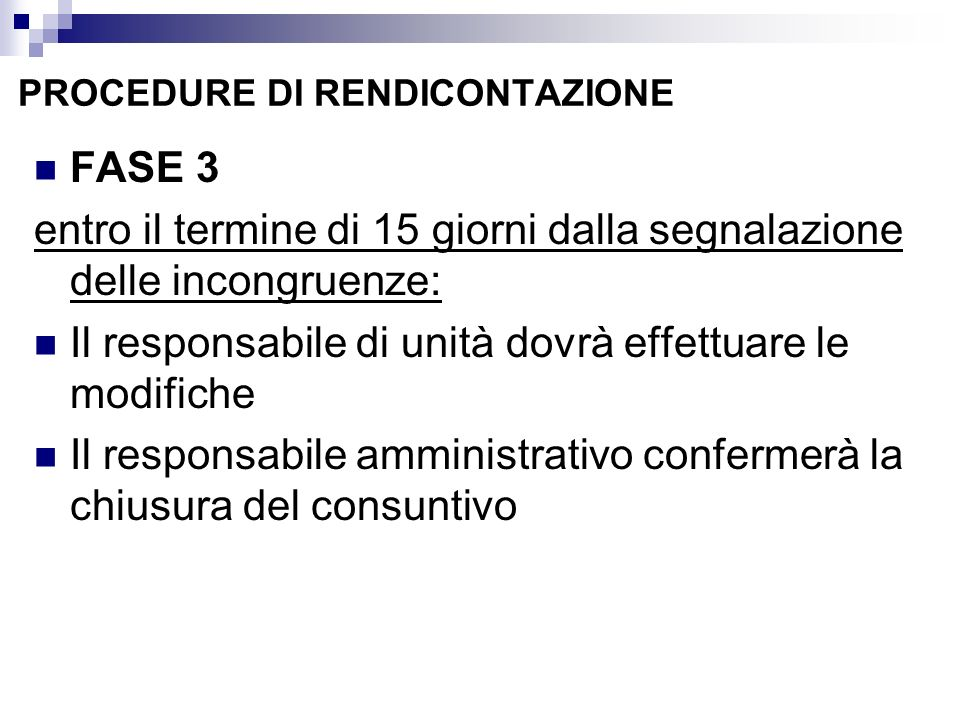 PROCEDURE DI RENDICONTAZIONE