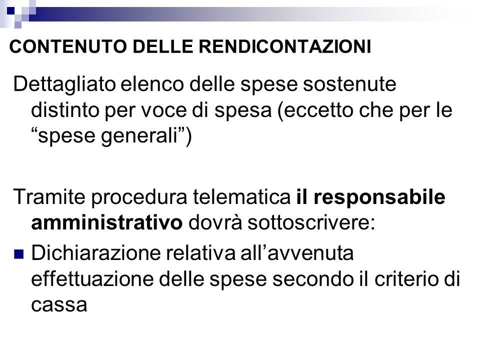 CONTENUTO DELLE RENDICONTAZIONI