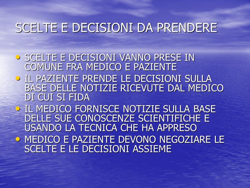 SCELTE E DECISIONI DA PRENDERE