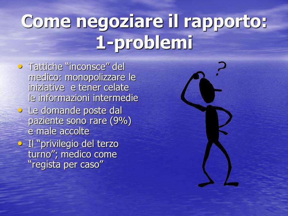 Come negoziare il rapporto: 1-problemi
