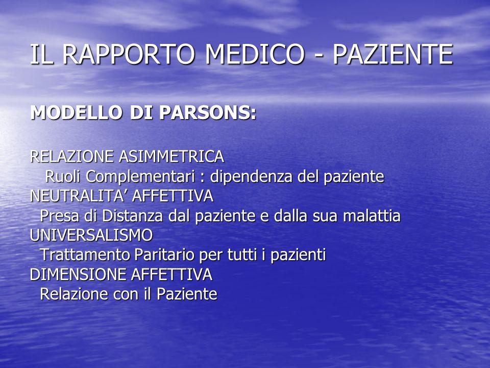 IL RAPPORTO MEDICO - PAZIENTE