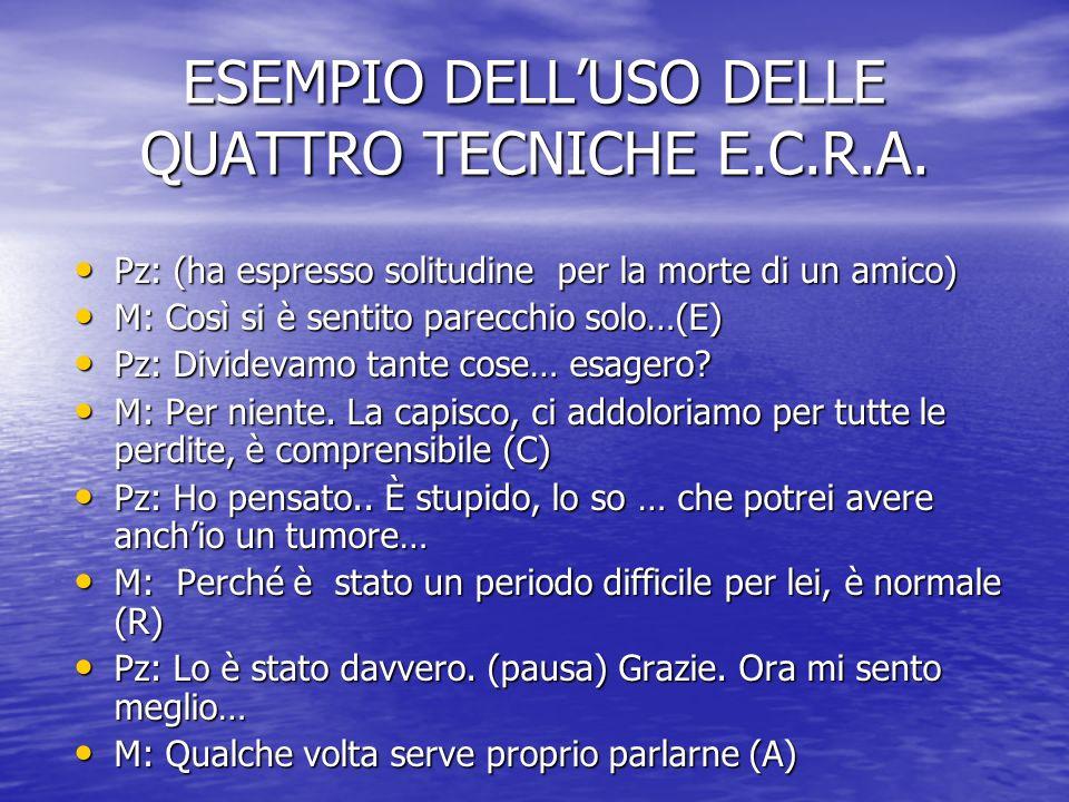 ESEMPIO DELL'USO DELLE QUATTRO TECNICHE E.C.R.A.