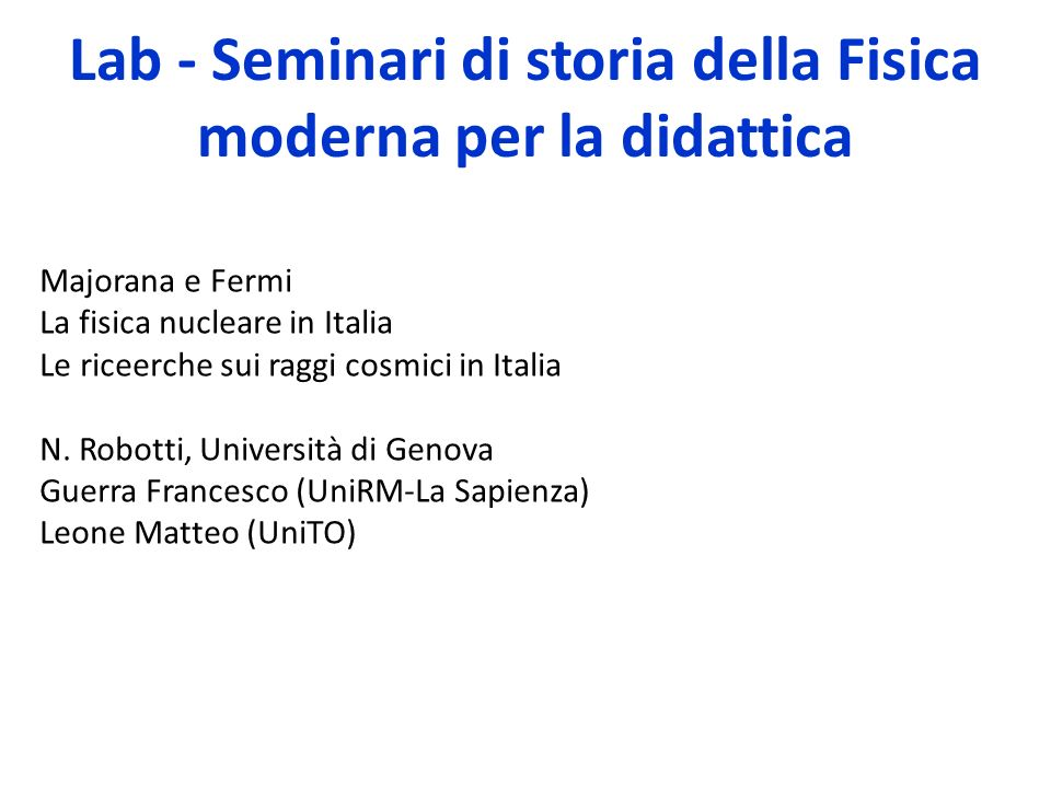 Lab - Seminari di storia della Fisica moderna per la didattica