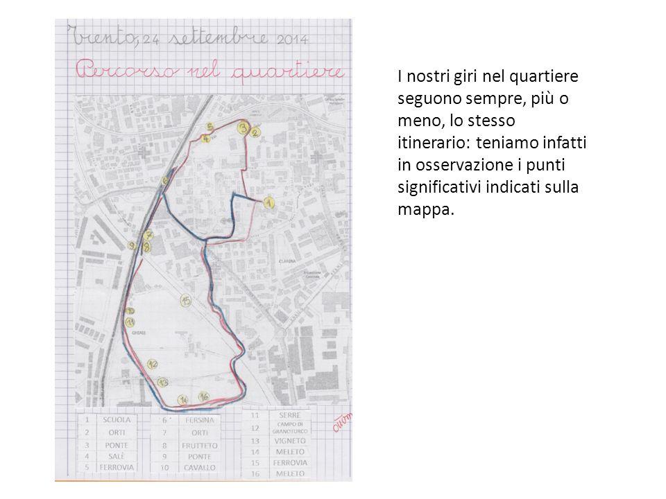 I nostri giri nel quartiere seguono sempre, più o meno, lo stesso itinerario: teniamo infatti in osservazione i punti significativi indicati sulla mappa.