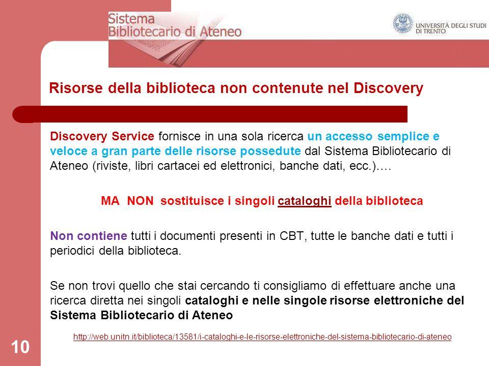 Risorse della biblioteca non contenute nel Discovery