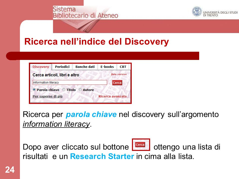 Ricerca nell'indice del Discovery