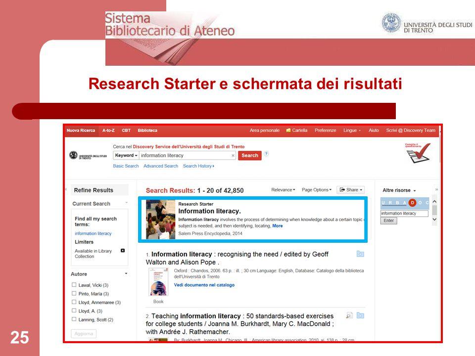 Research Starter e schermata dei risultati