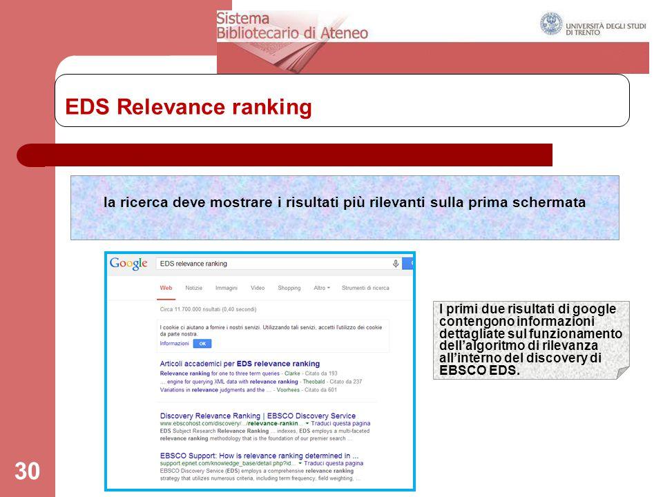 EDS Relevance ranking la ricerca deve mostrare i risultati più rilevanti sulla prima schermata.