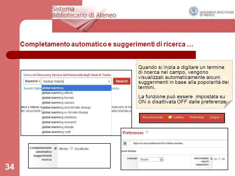 Completamento automatico e suggerimenti di ricerca …