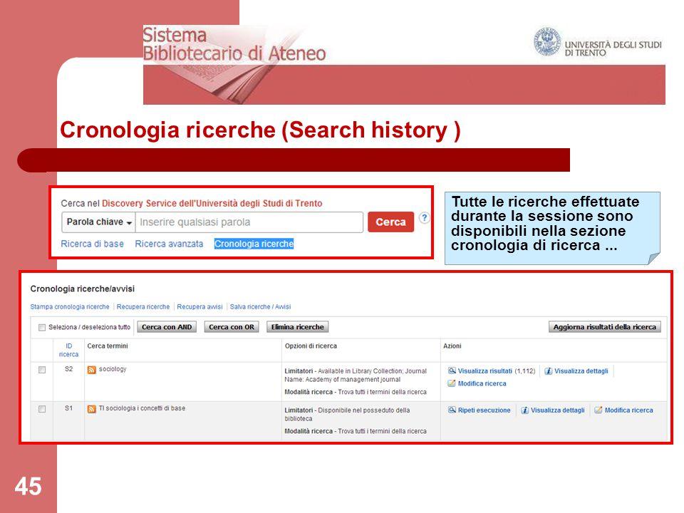 Cronologia ricerche (Search history )