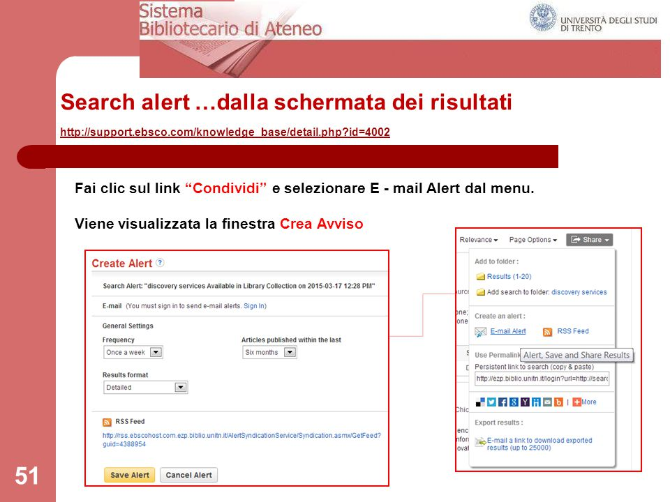 Search alert …dalla schermata dei risultati http://support. ebsco